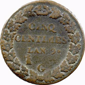 Consulat, cinq centimes Dupré, An 9 Genève