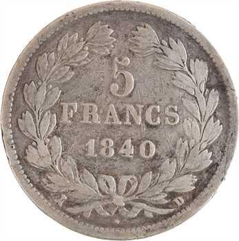Louis-Philippe Ier, 5 francs IIe type Domard, 1840 Lyon