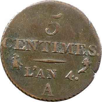 Le Directoire, 5 centimes petit module, An 4 Paris