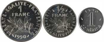 Ve République, lot de 3 exemplaires de 1990 : 1 centime, 1/2 franc et 1 franc Semeuse, 1990 Pessac
