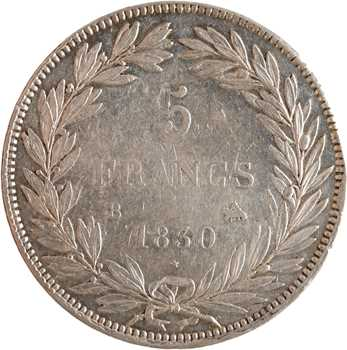 Louis-Philippe Ier, 5 francs Tiolier sans le I, tranche en creux, 1830 Rouen
