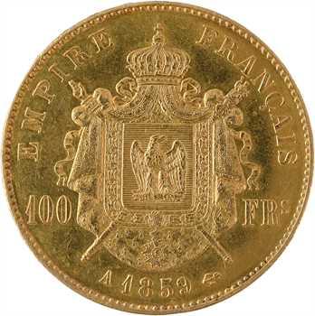 IIIe République, 100 francs Napoléon III tête nue transformée en médaille de mariage, 1859/1886 Paris
