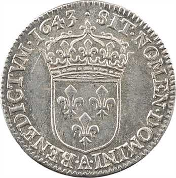 Louis XIII, douzième d'écu d'argent, 3e type (2e poinçon), 1643 Paris (point)
