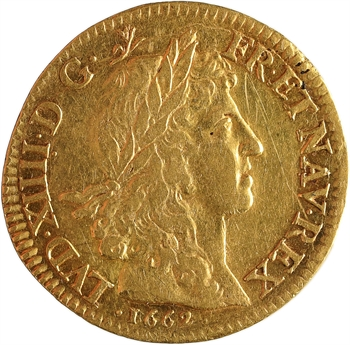 Louis XIV, louis d'or juvénile lauré, 1662 Paris