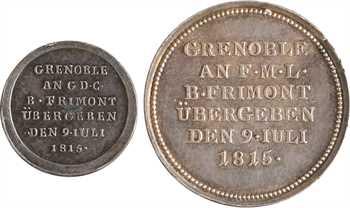 Autriche, général baron Frimont, la reddition de Grenoble, 1815 lot de 2 médaillettes