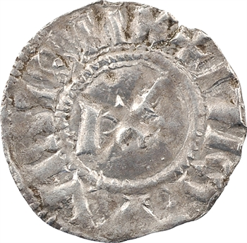 Langres (évêché de), denier immobilisé au nom de Louis IV ou V (besant 3), c.950-1000
