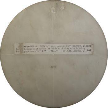 Loiseau (Paul) : médaillon uniface, Émile Zola (?) en marbre blanc, 1909