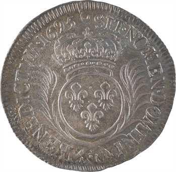 Louis XIV, demi-écu aux palmes, 1695 Lyon