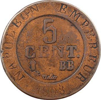 Premier Empire, 5 centimes Strasbourg, 1808 Strasbourg, surmoulage de poids lourd