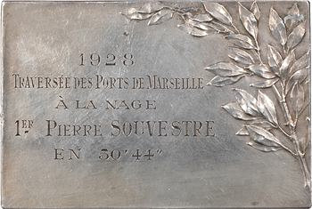 Vernier (S.-É.) : Traversée des ports de Marseille à la nage (1er prix), 1928 Paris