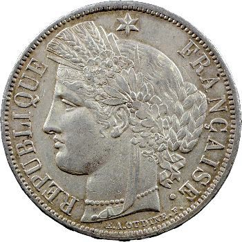 Gvt de Défense nationale, 5 francs Cérès avec légende, 1870 Paris
