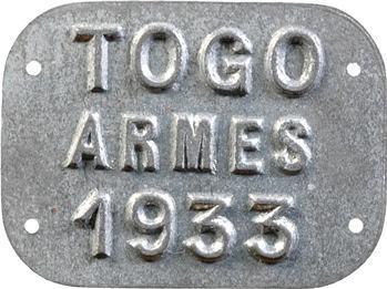 Togo, plaque de taxe, Armes, 1933