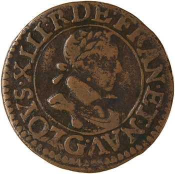 Louis XIII, double tournois, 1619 Poitiers