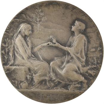 Roty (L.-O.) : Semper, médaille de mariage en argent, 1920 Paris