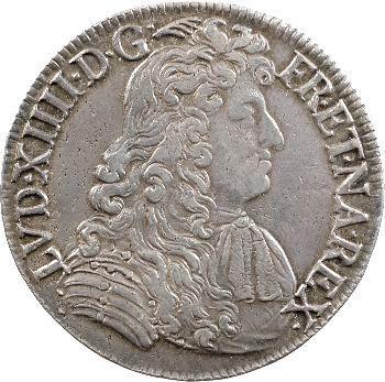 Louis XIV, écu à la cravate, 2e émission par F. Warin, 1681 Bayonne