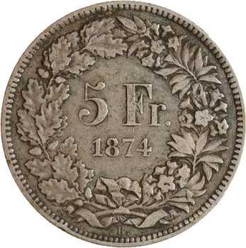Suisse, Confédération helvétique, 5 francs, 1874 Bruxelles