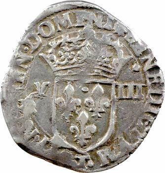 Charles X, huitième d'écu, croix de face, 1593 Nantes