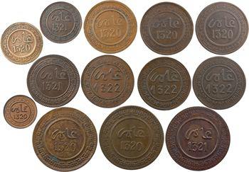 Maroc, Abdül Aziz I, lot de 13 monnaies, de 1 à 10 mouzounas, AH 1320 à 1322 (1902 à 1904) Fès