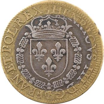 Henri III, l'édit de paix de Nérac (entre catholiques et protestants), jeton bimétallique laiton et argent, 1579 Paris