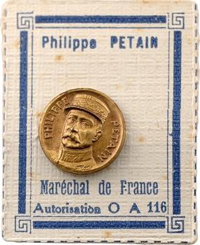 IIe Guerre Mondiale, broche, hommage au Maréchal Pétain, par Audin (?), s.d. Paris