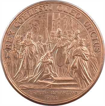 Louis XV, sacre à Reims le 25 octobre 1722, par J.-C. Roëttiers, cuivre, 1722 Paris