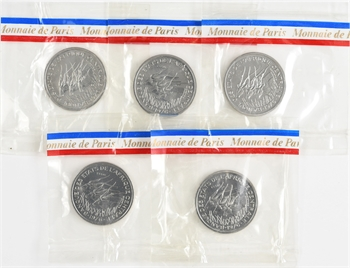 Afrique Centrale, série de 5 essais de 50 francs (Tchad, RCA, Congo, Gabon, Cameroun), 1976 Paris