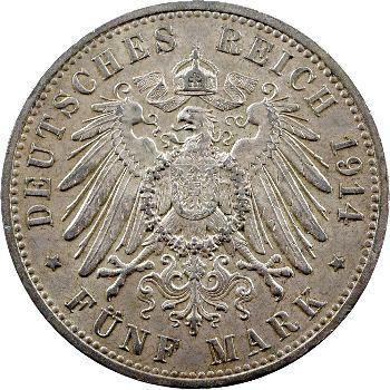 Allemagne, Prusse (royaume de), Guillaume II, 5 mark, 1914 Berlin