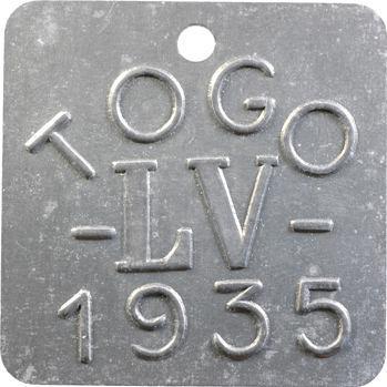 Togo, plaque de taxe, LV, 1935