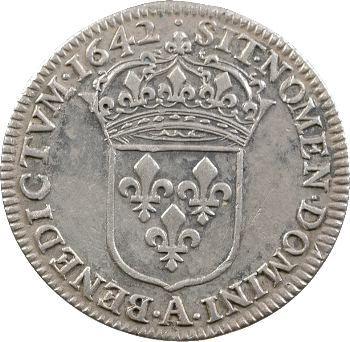 Louis XIII, quart d'écu d'argent, 2e type (1er poinçon), 1642 Paris
