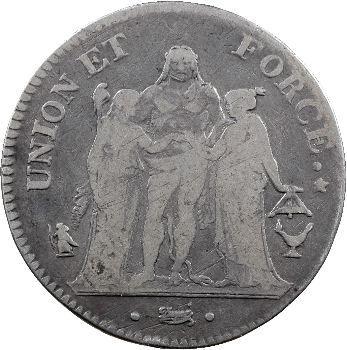Le Directoire, 5 francs Union et Force, An 7 Bordeaux