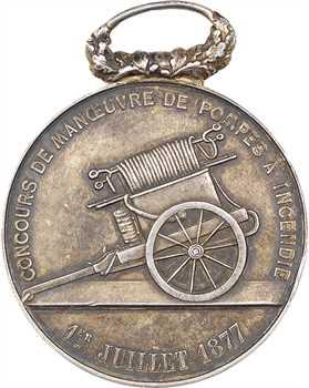 IIIe République, Compiègne, concours de manœuvre de pompes (pompiers), 1877