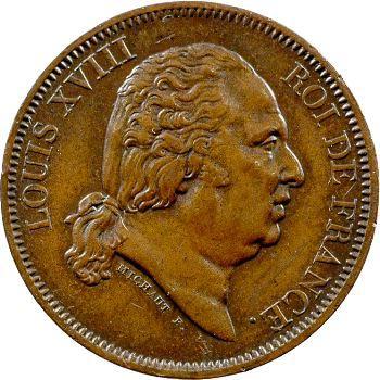 Louis XVIII, essai de 40 francs en bronze par Michaut, 1815 Paris