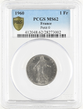 Ve République, 1 franc Semeuse, 1960 Paris petit 0, PCGS MS62