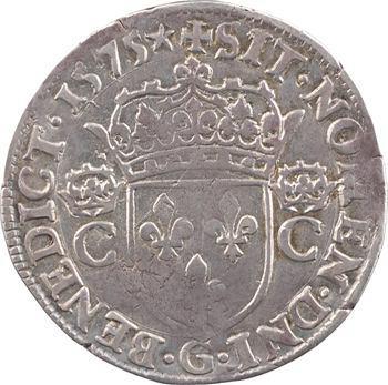 Henri III (au nom de Charles IX), teston 2e type, 1575 Poitiers