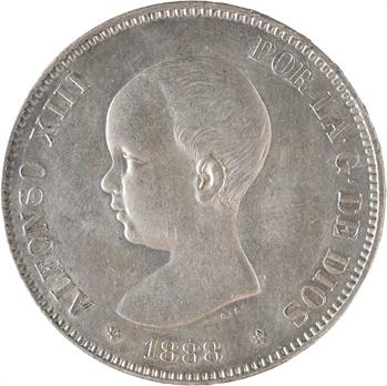 Espagne, Alphonse XIII, 5 pesetas, 1888 (18 – 88) Madrid