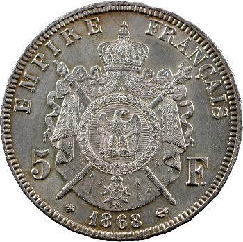 Second Empire, 5 francs tête laurée, 1868 Strasbourg