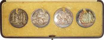 Vatican, coffret de 4 médailles papales en argent, 1882-1922