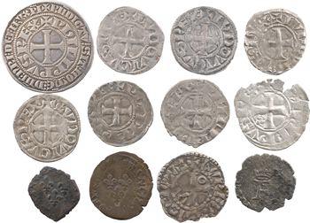 Lot de 12 monnaies royales en argent pour Louis VI, Louis VIII ou Louis IX, Philippe IV, François Ier, Henri II
