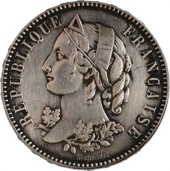 IIe République, concours de 5 francs par Magniadas en argent, 1848 Paris