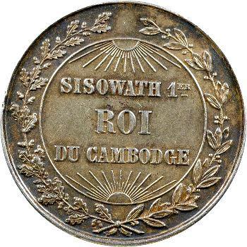 Cambodge, médaille de couronnement de Sisowath Ier, 1906