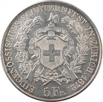Suisse, Zürich, 5 francs ou thaler de tir, 1872