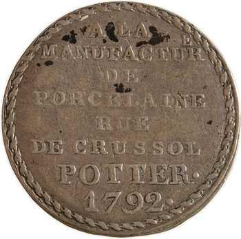 Constitution, 5 sols manufacture de porcelaine rue de Crussol, 1792 Paris