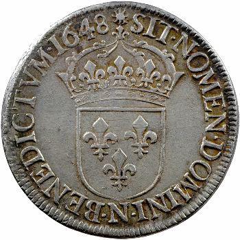 Louis XIV, écu à la mèche longue, 1648 Montpellier