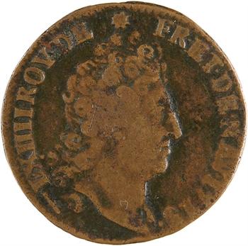 Louis XIV, liard de cuivre, 4e type, 1713 Lille