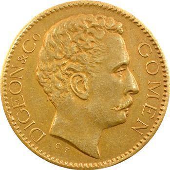Nouvelle-Calédonie, Digeon and Co, 5 francs, épreuve en laiton, ville de Gomen, 1882