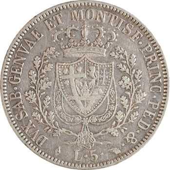 Italie, Savoie-Sardaigne, Charles-Félix, 5 lire, 1829 Turin