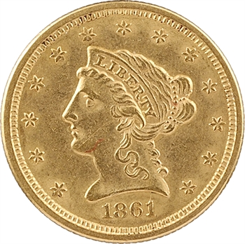 États-Unis, 2 1/2 dollars Coronet Head, 1861 Philadelphie