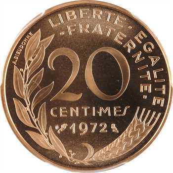 Ve République, piéfort de 20 centimes Lagriffoul en or, 1972 Paris, PCGS SP69