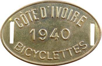 Côte d'Ivoire, plaque de taxe de bicyclettes, 1940