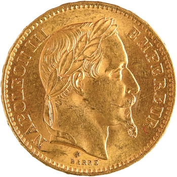 Second Empire, 20 francs tête laurée, 1867 Strasbourg